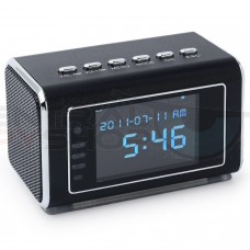 Mini Hidden Spy Camera Radio Clock with Motion Detection and Infrared Night Vision - Built-In Screen, Speaker, Micro SD Slot and AUX Line In