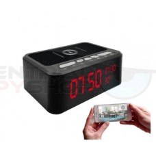 HD 1080P Wireless Charger and Bluetooth Speaker Security Wi-Fi Camera Clock
