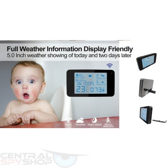 Clock Camera Weather Station WiFi Security HD 1080P
