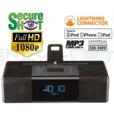 NEW! SecureShot Full High Definition 1080P Ipod Dock Clock Radio Camera/DVR with Night-vision.