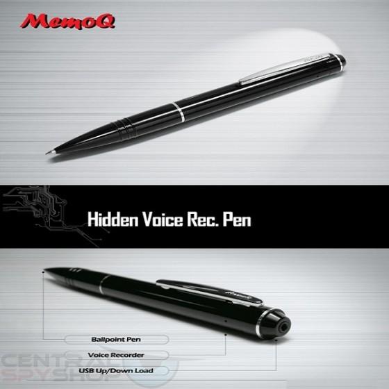 Memo Q - Voice Activated Digital Audio Pen - Spy Pen Voice Recorder