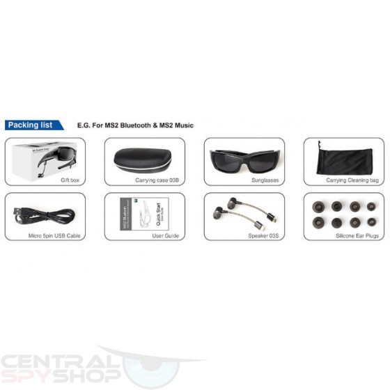 5mp 720p Bluetooth Camera Glasses w/ Mp3 Player, Bluetooth and UV400 Protection
