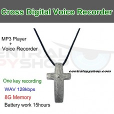 Cross Pendant Digital Covert Audio Recorder Necklace w/ 15 Hour Battery
